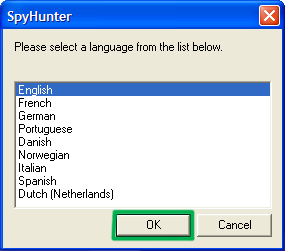 SpyHunter language select